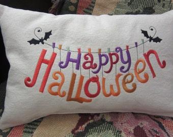 Halloween Decoration, Embroidered Pillow, Halloween Pillow, Seasonal Decoration, Pillow with words, Sayings Pillow, Hostess Gift
