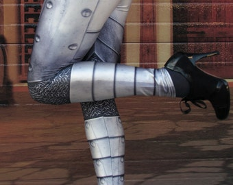 TAFI Plate-Mail Armor Leggings - Original Cosplay Platemail Armour 3D Printed Design Black Milk Galaxy Dance Theatre Costume Yoga Pants