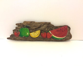 Vintage Hand Painted Fruits Wood Wall Hanging, Strawberries, Green Apple, Lemon, and Watermelon Painted Faux, Hand Painted Wall Hanging