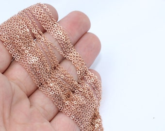 3,3 Feet Rose Gold Plated Chains, Cable Chains, 1,5x2mm , Rose Gold Chains, Soldered Chains, BXB14