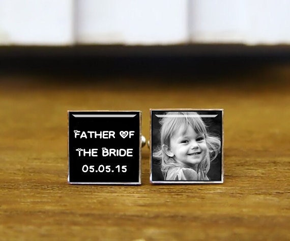 father of the bride, i'll always be your little girl, custom any text, photo, custom wedding cufflinks, round, square cufflinks, tie clip