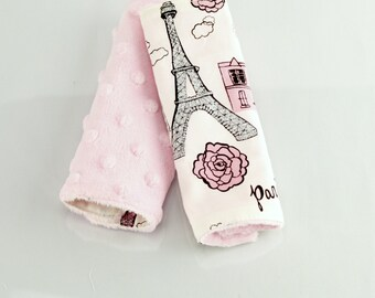 Carseat Strap Covers in Paris and Pink Minky