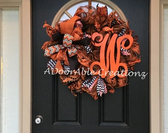 Monogram Halloween Deco Mesh Wreath, Fall Wreath, Halloween Wreath