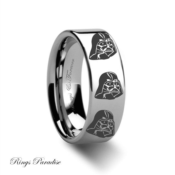 Mens tungsten ring star wars promise rings wedding band for Star wars mens wedding ring