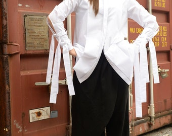 Asymmetric Shirt / Extravagant White Top / Tunic with Long Ribbons / Loose Top by METAMORPHOZA
