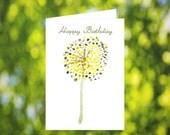Summer Birthday Card Download: Watercolor Yellow Alium Flower Birthday Card - Digital Download - Yellow Flower - Birthday Card for Mom Her