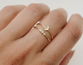 Simple ring stack - Moon ring - Stacking rings - Thin gold rings - Gold rings