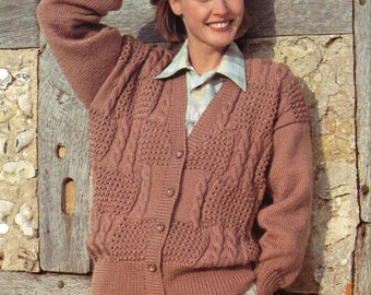Knitting Pattern Patchwork Cardigan : Cable patchwork Etsy