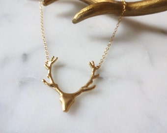 Dainty Gold Deer Antler Necklace