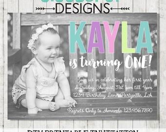 Photo First Birthday Invitation | Printable Digital Invite Personalised | Pastel, Modern, Customisable | DIY | Portrait or Landscape