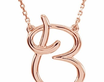 14K Rose Gold Alphabet Cursive Script Initial Letter Necklace 16 inches Long, Letters A-Z Available