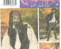 Simplicity 4923 Sizes xs, s, m. Men's steampunk and pirate costume sewing pattern.  Cosplay, coat, pants, shirt, belt and waistcoat. pirates