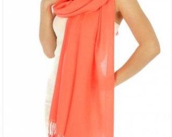 Coral pashmina scarves - coral wedding scarves - bridesmaid gift - coral bridal shower favors - coral wedding favors