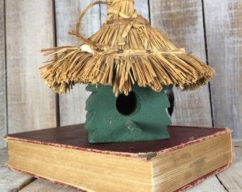 Birdhouse, Decorative Bird Houses, Green Tree Bird House, Straw Roof Rustic Bird Houses, Indoor Birdhouse, Wooden Bird House, Christmas Gift