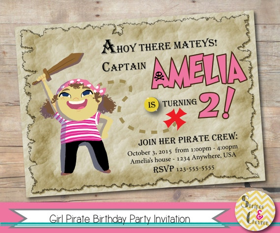 Girl Pirate Party Invitation Pink Pirate Party Pirate Princess – Pirate Party Invitation Ideas