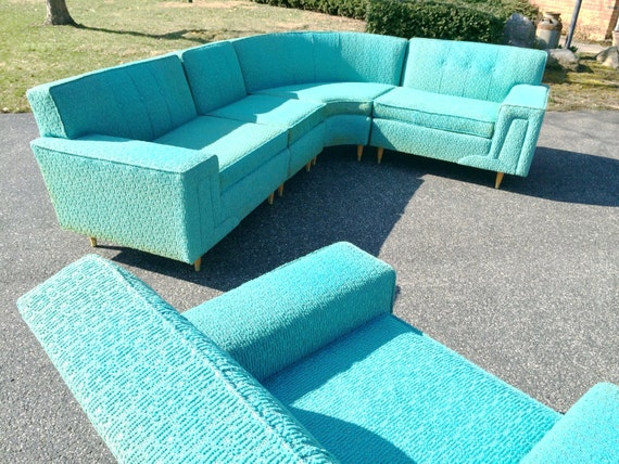 Mid Century Modern Turquoise Sofa by Rowe Furniture