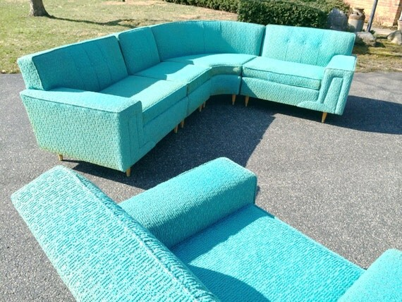 Mid century modern turquoise sofa by rowe furniture - Turquoise sofa ...