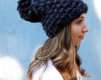 Knit Pom Pom Hat, Black Chunky Knit Hat, Women's Knit Winter Hats in Black as Coal ~ The Blitzen