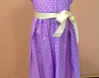 Purple with White Polka Dots Dress