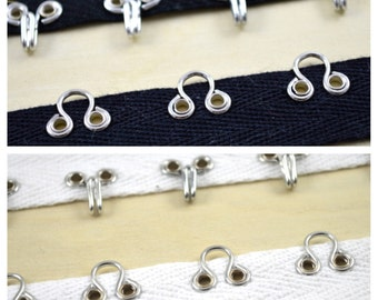 """Heavy Duty Silver Metal Hook and Eye Set on Black or White 100% CottonTwill Tape 7/8"""". 1/4"""" Eye Opening Twill Tape, 1"""" Space Btwn hooks"""