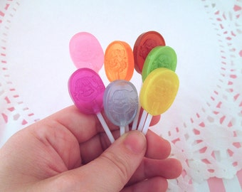 7 Colorful Peko Chan Resin Lollypop Cabochons, Faux Lollipops with a Little Girl Face, #211