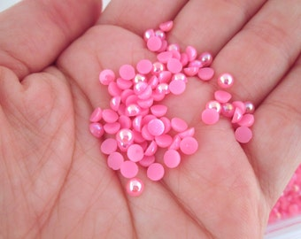 Hot Pink 4mm ab pearl cabochon, flat backed (200 pieces)