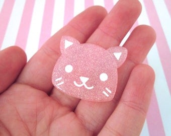Big Cute Pink  Glitter Cat Cabochons (pick your amount) #362a