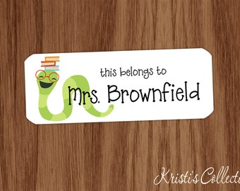 This belongs to Labels Stickers - Boys Girls Kids Teachers Custom Personalized Back to School Gift - Bookworm Gift Books