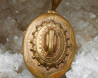 Antique Victorian Large Engraved Brass Locket Pendant Necklace