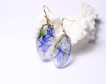 14k gold earrings blue jewelry gift wife terrarium jewelry floral earrings gift girlfriend romantic jewelry gold blue earrings кю29