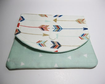 Fabric Wallet, Arrows Cotton Fabric Wallet, Gift Card Holder, Credit Card Holder, Gift Under 20