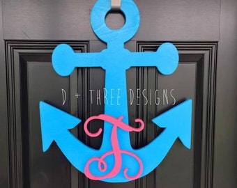 20 Inch Painted Wooden Anchor + Personalized Monogram // Anchor Decor // Nautical Decor // Anchors Away // Wooden Door Hanger YOU PICK COLOR