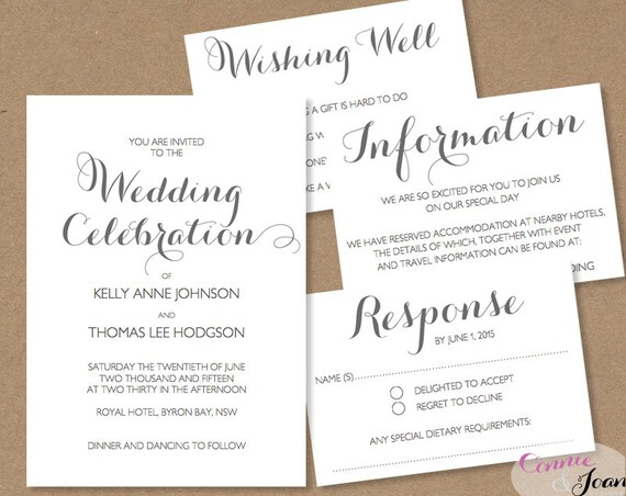 Printable Wedding Invitation Wishing Well RSVP By ConnieAndJoan