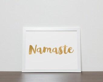 Gold foil namaste poster, meditation print gold namaste sign motivational poster spiritual zen wall art, gold and black yoga prints namaste