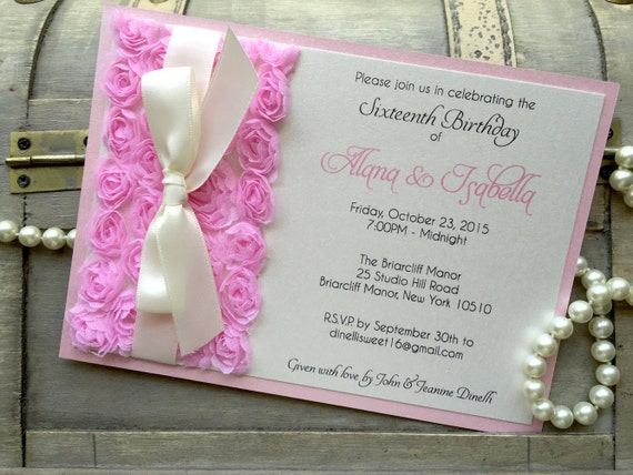 ALANA - Pink Rosette Sweet Sixteen Invitation - Pink Rosettes and Ivory Ribbon - Quinceañera Invitation