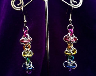 Rainbow Silver Chainmaille Earrings - Aluminum - Orbital Odyssey - Chainmail Jewelry