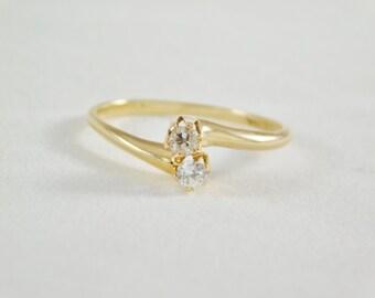 Ladies 14kt Yellow Gold Double Diamond Ring