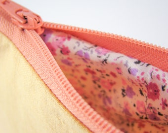 Peach Color Linen Coin Purse with Pink Cotton Floral Inside, Small Orange Handmade Pouch with Zipper, Small Makeup Bag