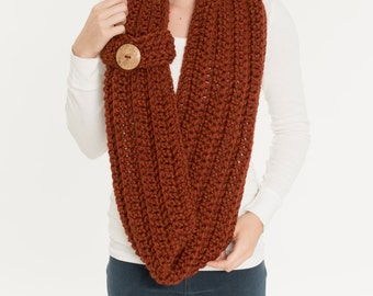 Chunky Knit Button Cuff Scarf, Wool Infinity Cowl, Cozy Knitted Neck Warmer, Handmade Womens Warm Winter Accessory Crocheted Knitwear
