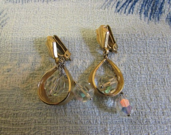 Vintage Art Deco-inspired gold-tone drop clip-on earrings with crystal bead droplets