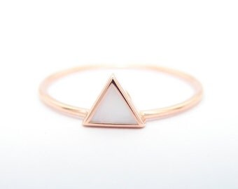 Triangle Mother of Pearl Ring - Geometric Ring - 14k Gold Ring - Simple Engagement Triangle Ring - simple engagement ring