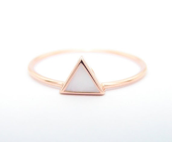 Triangle mother of pearl ring geometric ring 14k gold ring for Geometric wedding ring