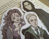 Harry Potter bookmarks or stickers: SLYTHERIN! (Draco Malfoy, Severus Snape, Bellatrix Lestrange) | Harry potter gift, Illustration, print.