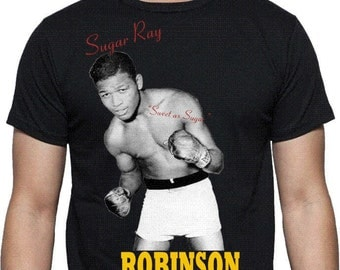 "Sugar Ray Robinson ""Sweet As Sugar"" T-shirt - Boxing Legend, ECO FRIENDLY PRINT, S - 2XL, Various Colours"