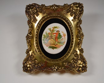Vintage Fragonard Limoges Type Cameo on Black Velvet Framed Ornate Frame Decotique Styled By Reliable Manufacturing Company
