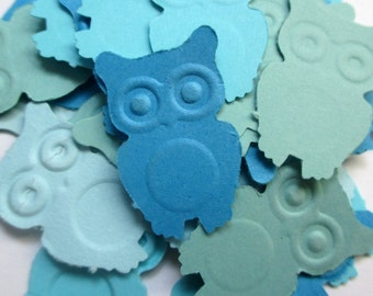 125-Blue Owl confetti-punched owls-baby boy shower decorations-owl confetti-party supply-scrapbooking die cuts-embossed owls-embellishments