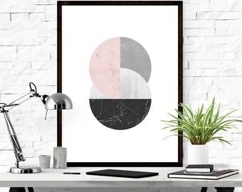 Abstract Geometric Print, Printable Art, Digital Download, Scandinavian Print, Modern Art, Graphic Print, Pink and Grey Decor, Modern Art