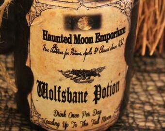 "Halloween Potion Bottle, ""Wolfsbane Potion"", Large Potion Bottle, Handmade, One-Of-A-Kind, Halloween Decor, Prop, Display, Unique"