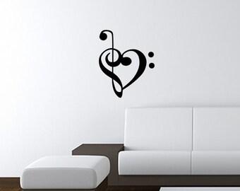 "Bass Treble Cleft Heart Wall Art Decal 13""x16"" Free Shipping"
