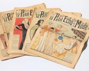 Le Petit Echo De la Mode French Fashion Magazines Selection of 5 ,1930's, Art Deco